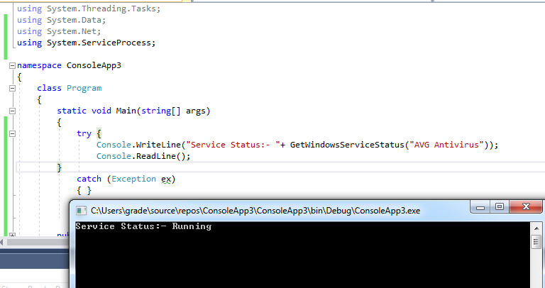 How to check the status of windows service using c# – Microsoft